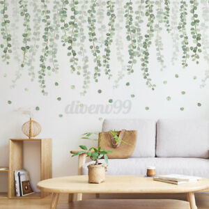 Tropical Leaves Green Plant Wall Stickers PVC Decal Living Room Art Mural DIY