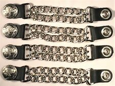 4 BUFFALO NICKEL DOUBLE MOTORCYCLE BIKER MC CLUB CHAIN VEST EXTENDERS USA MADE