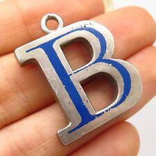 "Vtg 925 Sterling Silver Enamel Letter ""B"" Initial Solid Pendant"