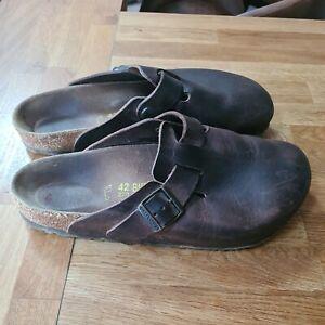 Birkenstock Mens Mules UK size 8 eur 42 brown leather  Boston sandles