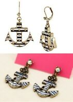 E82 Betsey Johnson Glow Boat Anchor Ship Sailor Wheel Earrings UK