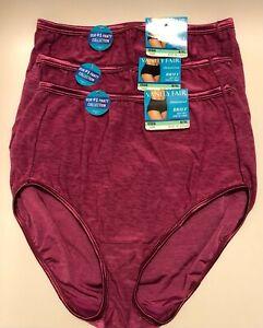 NWT 3 Vanity Fair Illumination 13109 Brief Panties Plum Berry Size 8/XL