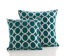 "Set of 3 X Oh Teal 18"" Square Cushion Covers Retro Slight Seconds (4)"