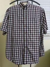 Duck Head Button Front Shirt Large Burgundy Plaid SS 100% Cotton