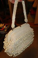 Vintage Cream Beaded Woven Clasp Handbag-Looped Dangling Beads - Circa 50""