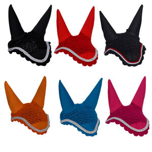 Rhinegold Fly Veil Noise Muffler Bonnet - Denim Red Black Pink Orange - Cob Full