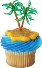 6 PARTY CAKE TOPPER PALM TREE BEACH SAND SUMMER FUN HAWAIIAN LUAU CUPCAKE PICKS