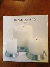 New ListingRoyal Limited Silver candle pillar holders set of 3 new in box Free Shipping