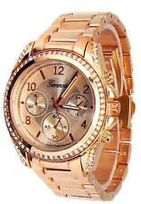 New Rose Gold Geneva Watch Crystal Bezel Women's Fashion Bracelet Oversized