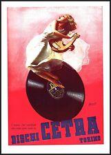 PUBBLICITA'1949 DISCHI CETRA TORINO DONNA MUSICA VELI SENSUALITA' GINO BOCCASILE