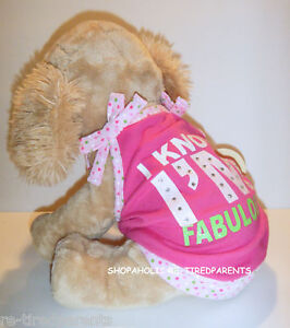 """PET TANK TOP – """"I KNOW I'M FABULOUS"""" – PINK with POLKA DOT BOWS - SIZE M – NWT"""