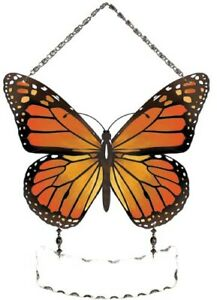 Joan Baker Hand Painted Stained Glass Window Suncatcher Monarch Butterfly