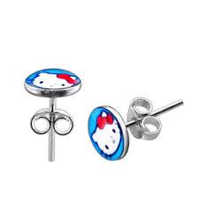 Hello Kitty Logo 925 Sterling Silver Ear Stud Piercing Jewelry