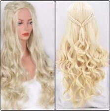 Femme Blond Perruque Long Bouclé Ondulé Perruque avec Tresse Tressé Blond Clair
