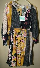 Umgee L boho patchwork floral prints romantic v neck hippie blouse