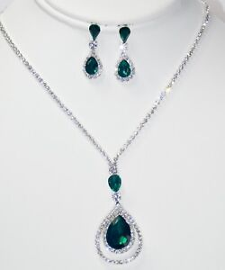 Green W. Silver Crystal Rhinestone Tear Drop Dangle Necklace & Earrings Set 719