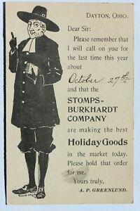 Vintage advertising postcard STOMPS-BURKHARDT CO. HOLIDAY GOODS, DAYTON, OH 1896