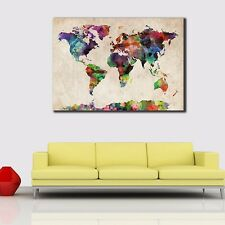 World map framed decorative posters prints ebay framed canvas prints stretched watercolor world map wall art home decor painting gumiabroncs Choice Image