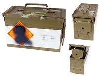 Franz. Scatola munizioni verde tropicale usato Cassetta portautensili metallo