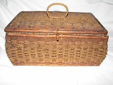 Antiique Woven Wooden Chest Trinket Jewelry Box Sewing Container Germany