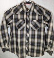 BANANA REPUBLIC Mens Western Pearl Snap Button Shirt Brown Plaid Slim Fit XLarge