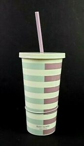 Kate Spade 20oz Insulated Tumbler Two-Tone Stripes New With Lid and Straw