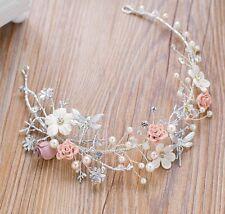 Stunning Bridesmaids Bridal Flower Vintage Style Pearl Crystal Hair Piece Tiara