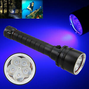 Scuba Diving Flashlight Lamp Torch Underwater 100M 30W UV LED  Chargeable