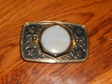 Vintage AGATE STONE BELT BUCKLE-Brand UnknownWHITE AGATE-Gold tone Western Style
