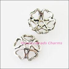 20 New Connectors Heart Flower Tibetan Silver Tone End Bead Caps 10mm