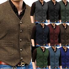 Braun Retro Herren Anzug V-Hals Wolle Herringbone Casual Tweed Weste Slim S-3XL+