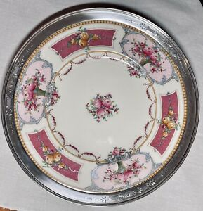 Antique Royal Worcester Plate w Sterling Silver Engraved  Rim BEAUTIFUL