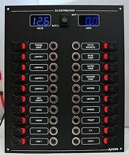 20 Way Circuit Breaker & Switch Panel Digital Volts & Ammeter (Blue)