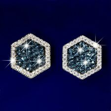 18k gold made with SWAROVSKI crystal metallic blue stud earrings 925 silver pin
