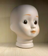 """Bisque Porcelain Doll Head - 3 1/2"""" Total Height - Brown Eyes"""