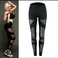 ** NEW BLACK MESH NET FITNESS SPORT LEGGINGS UK S **