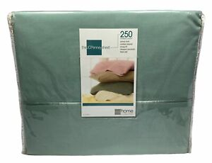 New JCPENNEY Home Collection 250 Thread Count TWIN Sheet Set Bayberry Green Blue