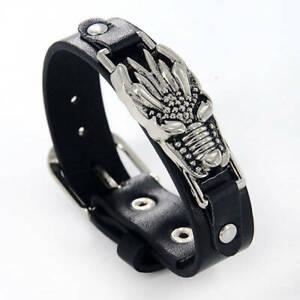 Bracelet Idée Cadeau Homme,Cuir Noir,Dragon,Acier,Punk,Rock,Biker,Style,Mode,FR