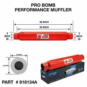 """2"""" inch 50mm 22"""" PRO Bomb glass pack exhaust muffler silencer Cherry Red Colour"""