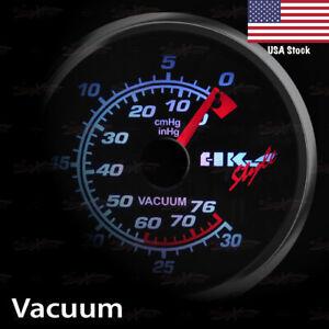 "2-11/16"" 68mm SMOKED Lens Gauge WHITE Light Auto Performance Meter VACUUM RATIO"