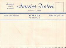 """CARTOLINA PUBBLICITARIA """" AMERICO ISOLERI """" MOBILI E TESSUTI ALBENGA 1950 C5-464"""