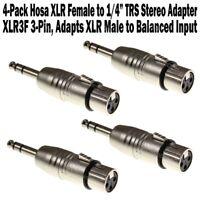 "4-Pack Hosa XLR Female to 1/4"" TRS Stereo Adapter XLR3F for XLR Male to Balanced"