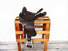 "14½"" WESTERN LEATHER HORSE BARREL RODEO SHOW RACING GAITED TRAIL SADDLE TACK"