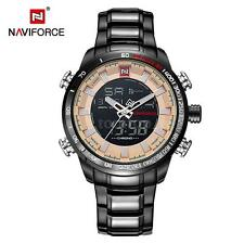 NAVIFORCE Dual Digital Watch Quartz Men Stainless Steel Luminous+Gift Box P2Y8