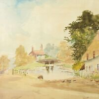 Cottage landscape painting watercolour antique E Massingham English country
