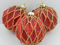 GISELA GRAHAM CHRISTMAS ANTIQUE MATT RED GOLD GLITTER HARLEQUIN GLASS BAUBLE X 3