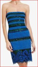 BCBG MAXAZRIA MANUELA STRIPE BLACK BLUE LACE DRESS size 2 NWT $398-RackR/44
