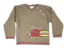 Janie and Jack Merino Wool Blend Sweater Boys 4T Brown Red Trains Buttons