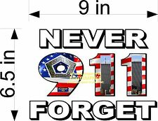 9-11 911 IN MEMORY OF  DECALS PAIR EACH SIDE VINYL DECAL NEVER FORGET NEW SIZE