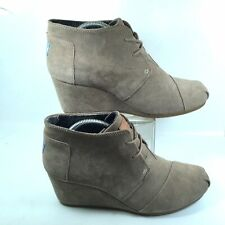 45bd43ecef3 Toms Womens Kala Suede Lace Up Tan Taupe Desert Wedge Ankle Boots Booties  US 12W